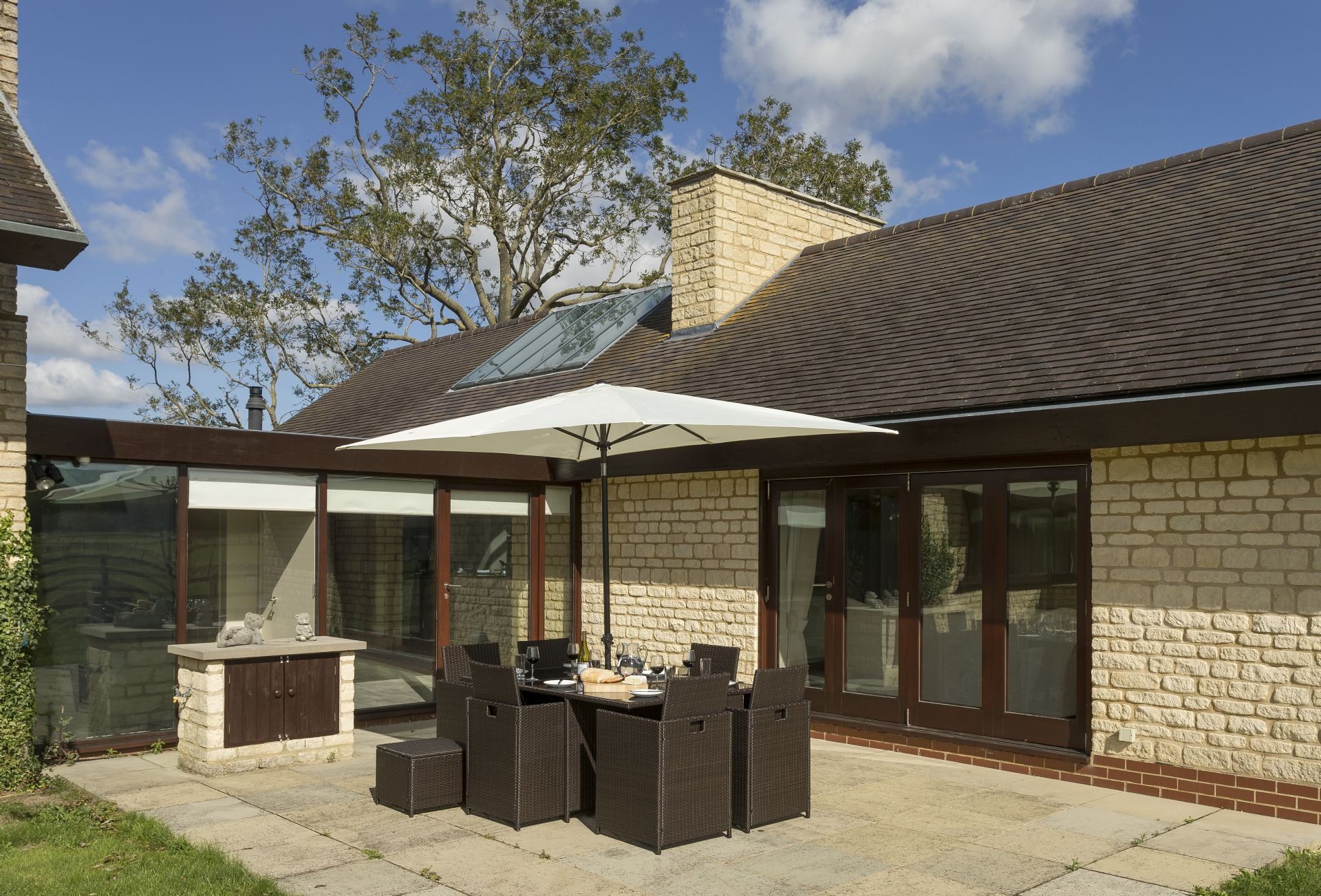 Private outside space with Rattan garden furniture
