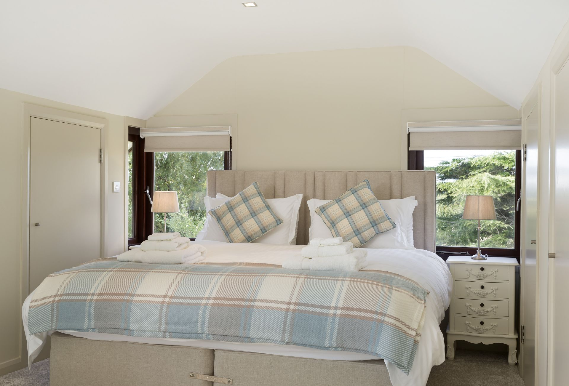 First floor: Super-king zip and link beds which can be converted into two full size single beds