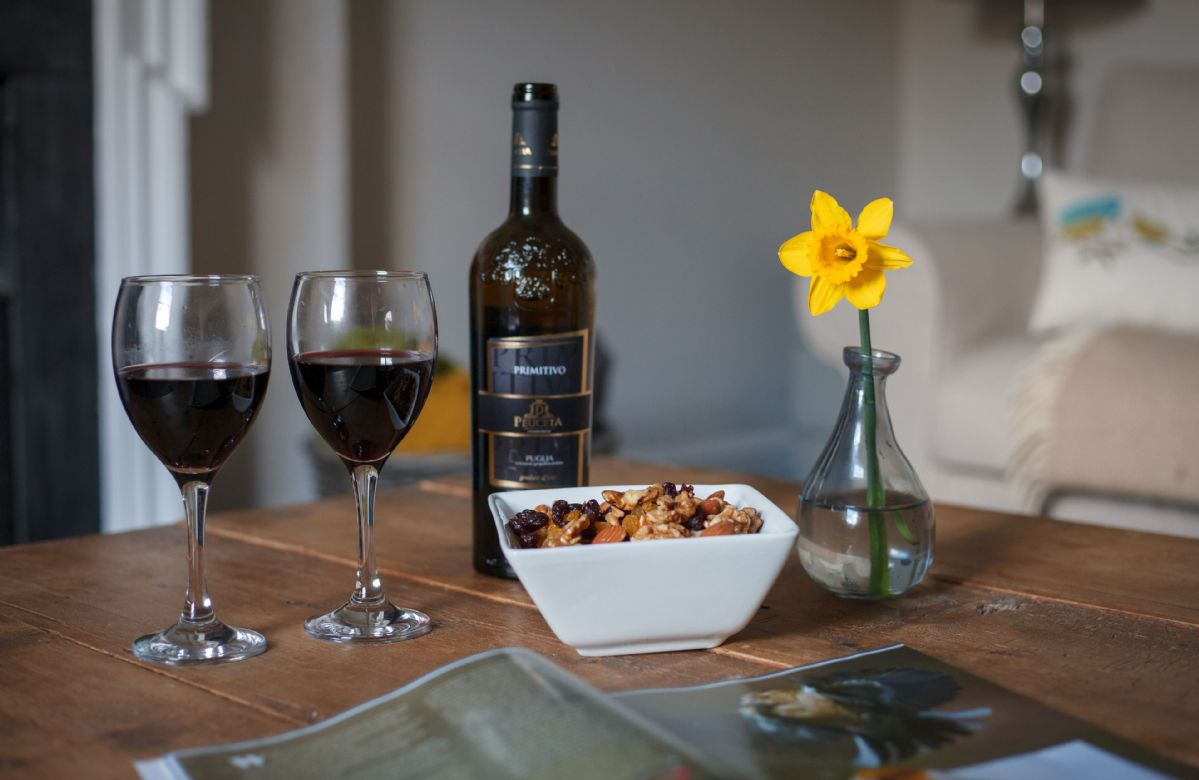 Relax in the evenings with a bottle of wine