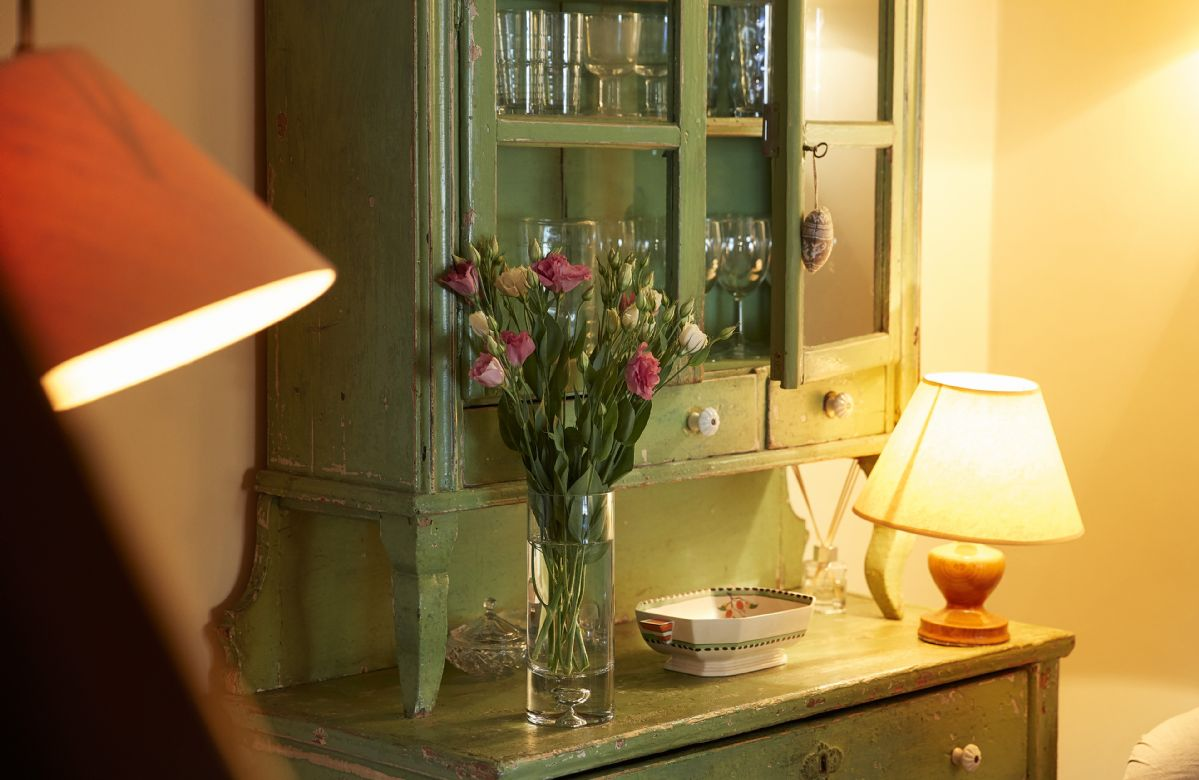 Soft lighting and a relaxed feel at this charming period stone cottage