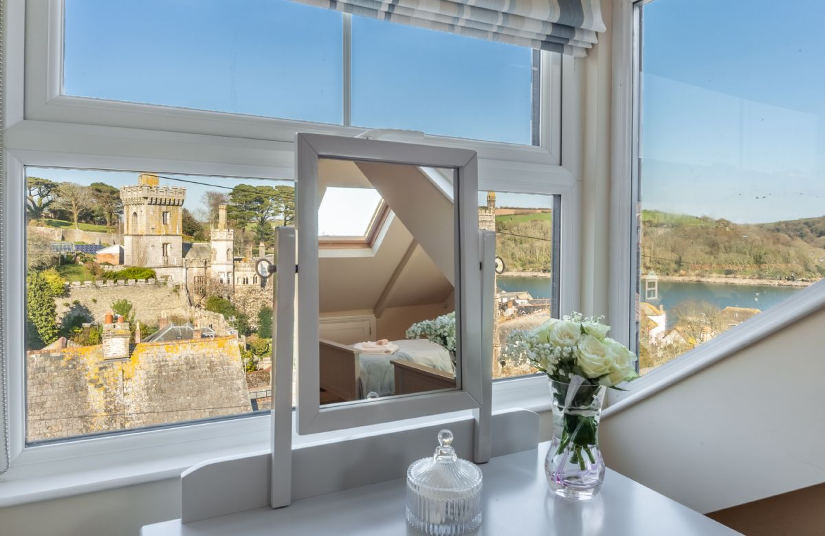 Second floor: Stunning views from the dressing table in the twin bedroom