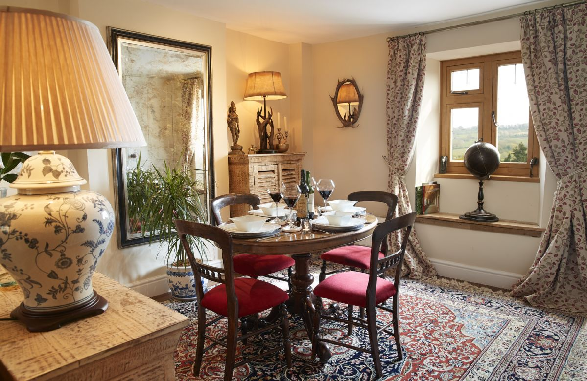 Ground floor: Dining room with rear views of the Cotswold countryside