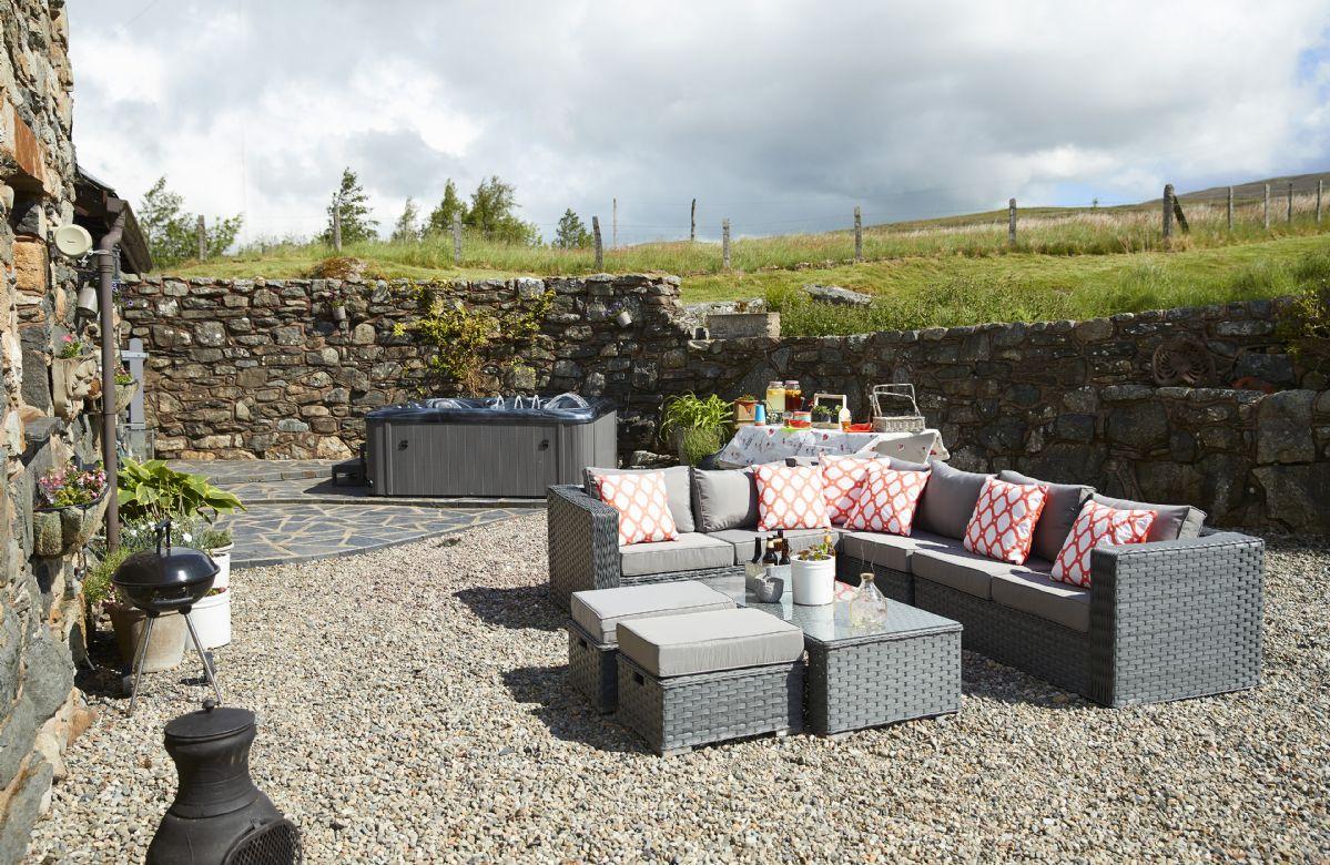 Comfortable garden furniture, private hot tub, chimenea and barbecue