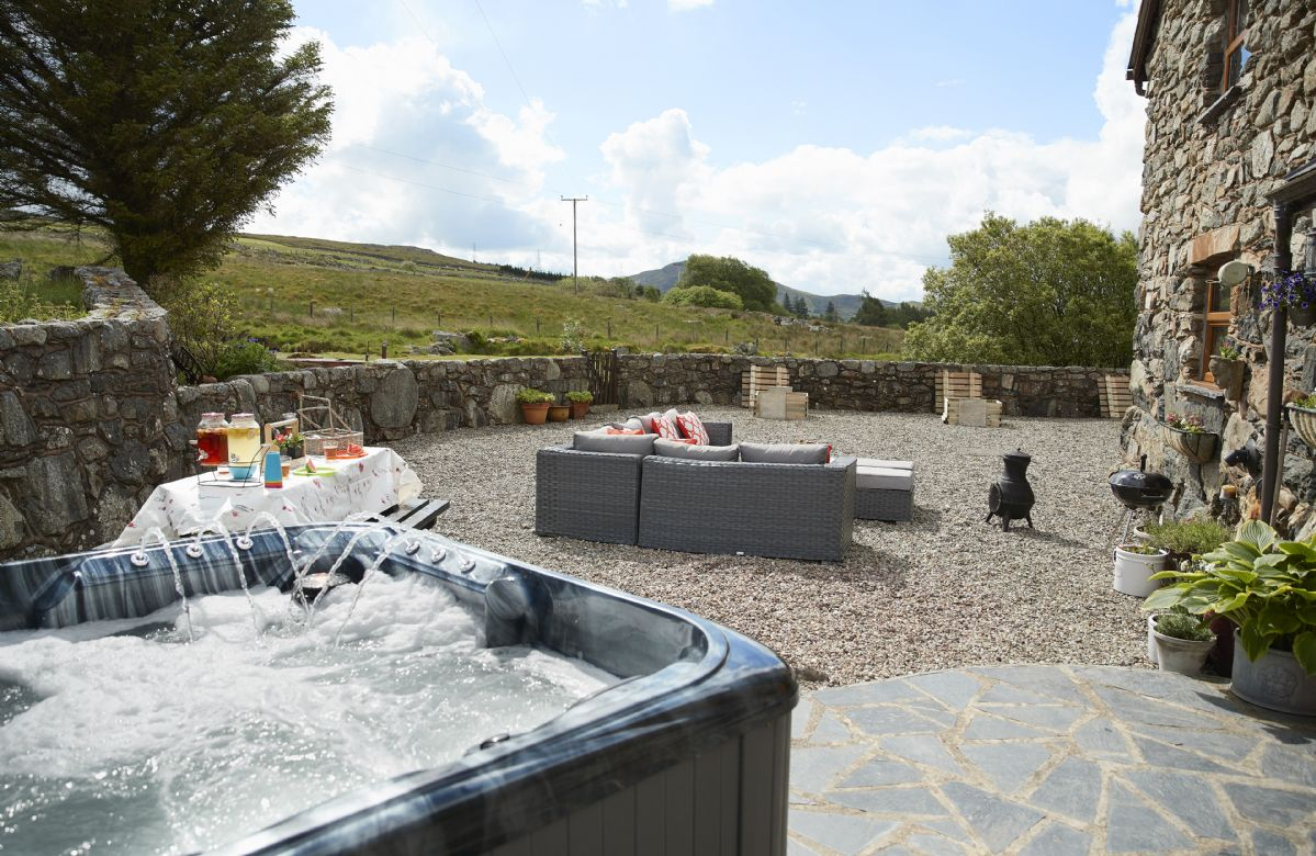 Enjoy the stunning views whilst in the private hot tub