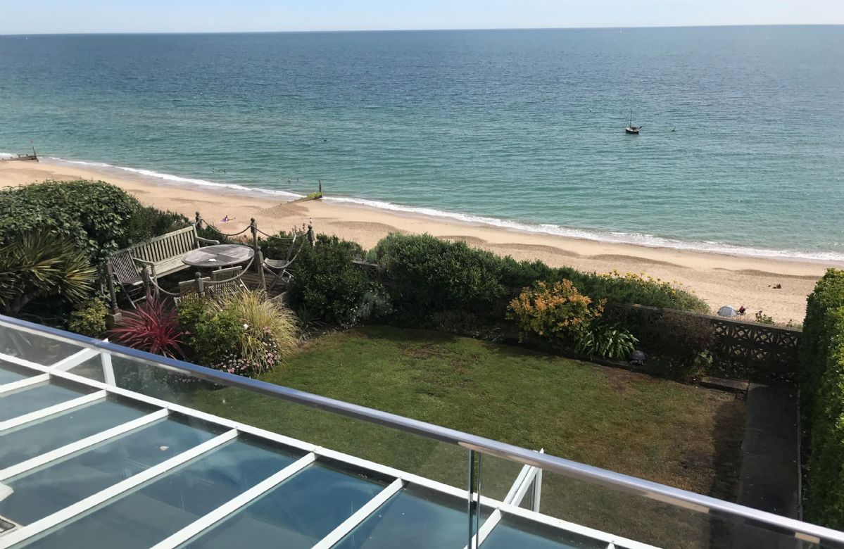 Stunning sea views from the balcony overlooking the garden