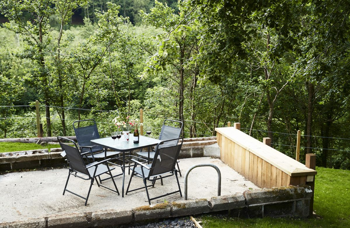 Patio table and chairs in this stunning rural location