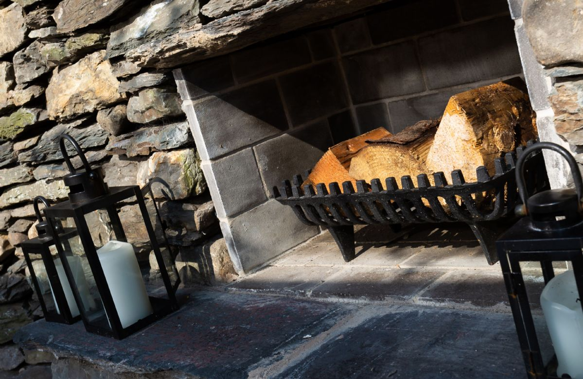 Feature outdoor fireplace