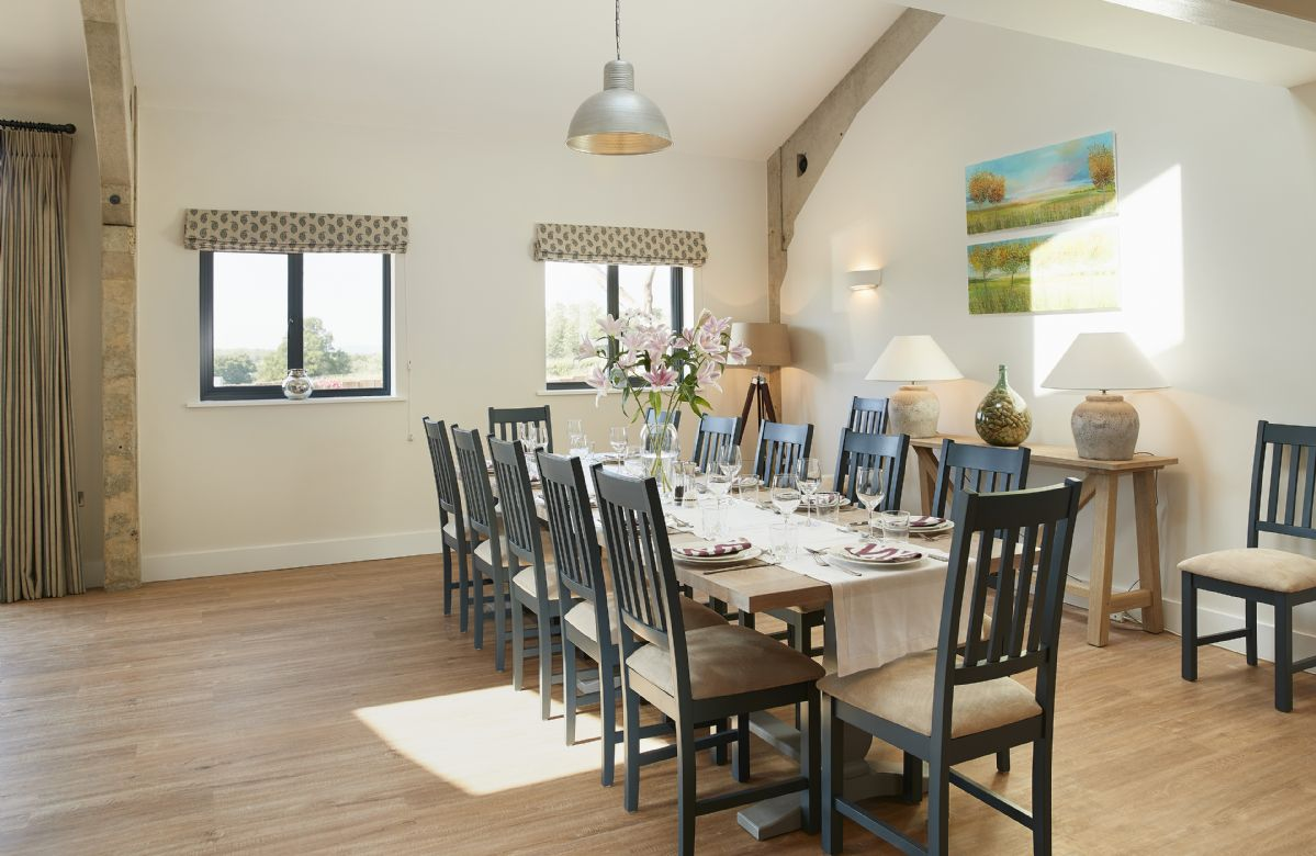 Ground floor: Dining area with seating for 12 guests