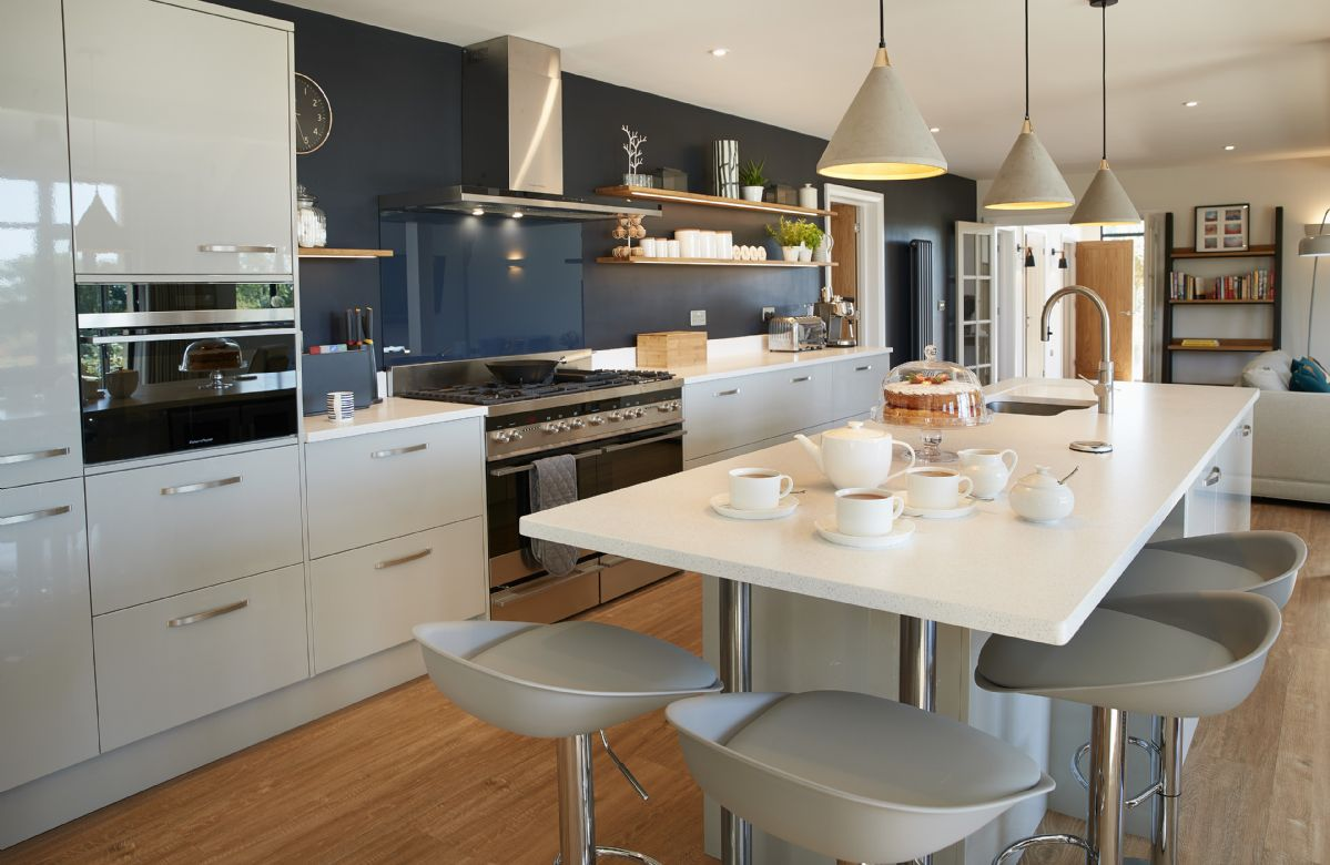 Ground floor: Fully equipped, modern kitchen with island breakfast bar