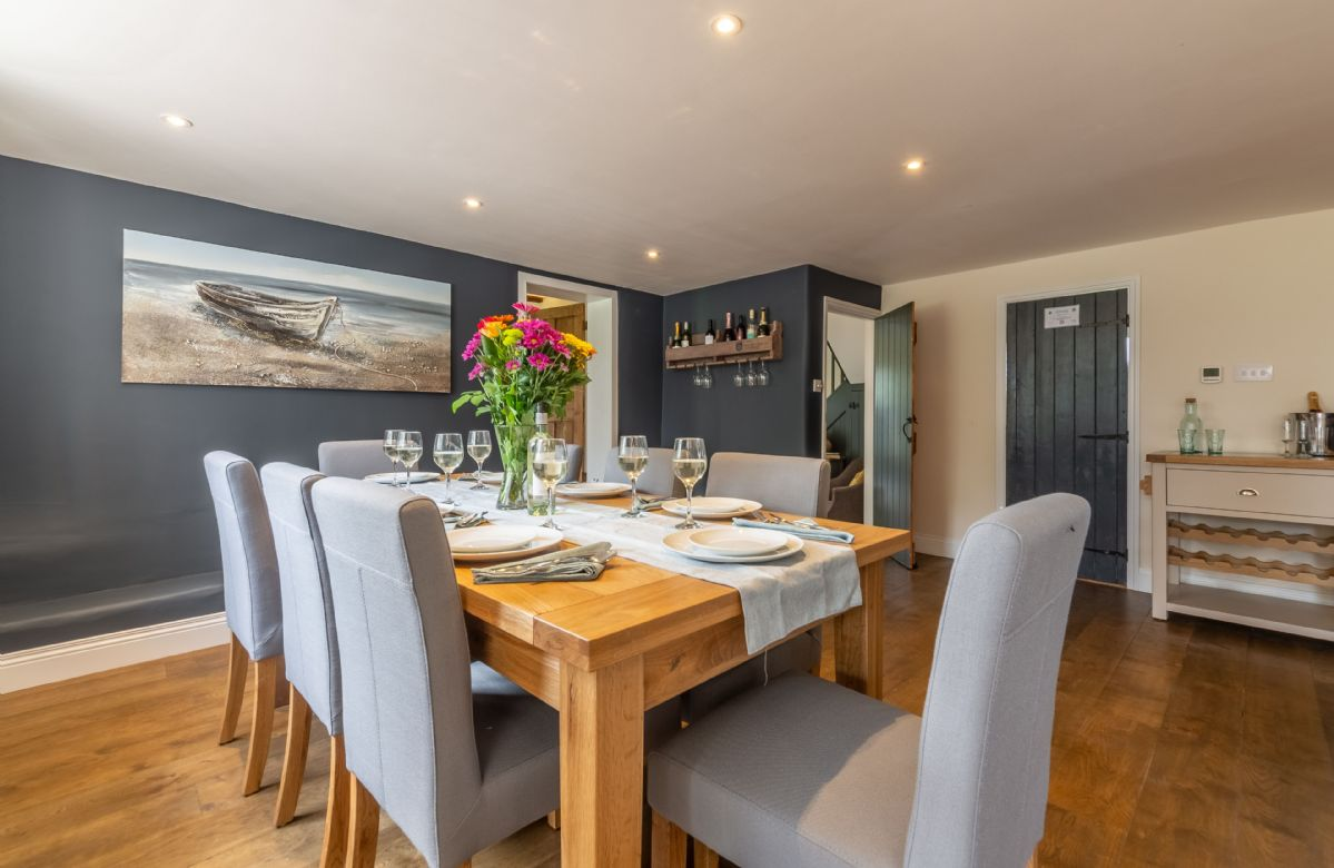 Ground floor: Stunning dining table seating eight guests