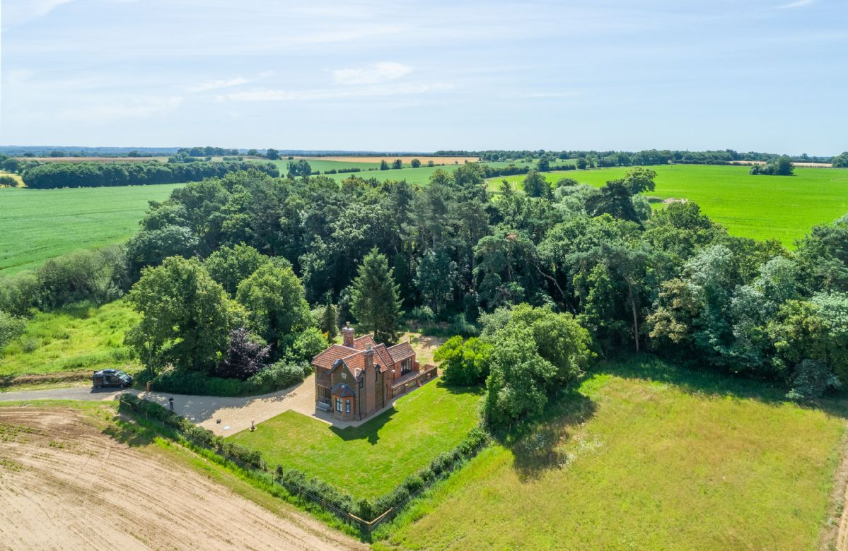 Aerial view of Keepers Cottage and stunning surrounding countryside