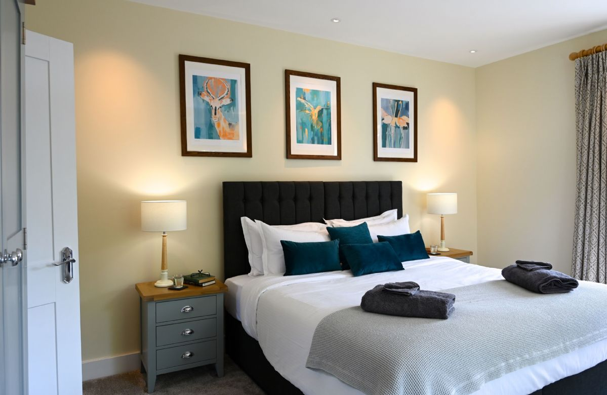 First floor:  Bedroom with super king size bed and sun terrace