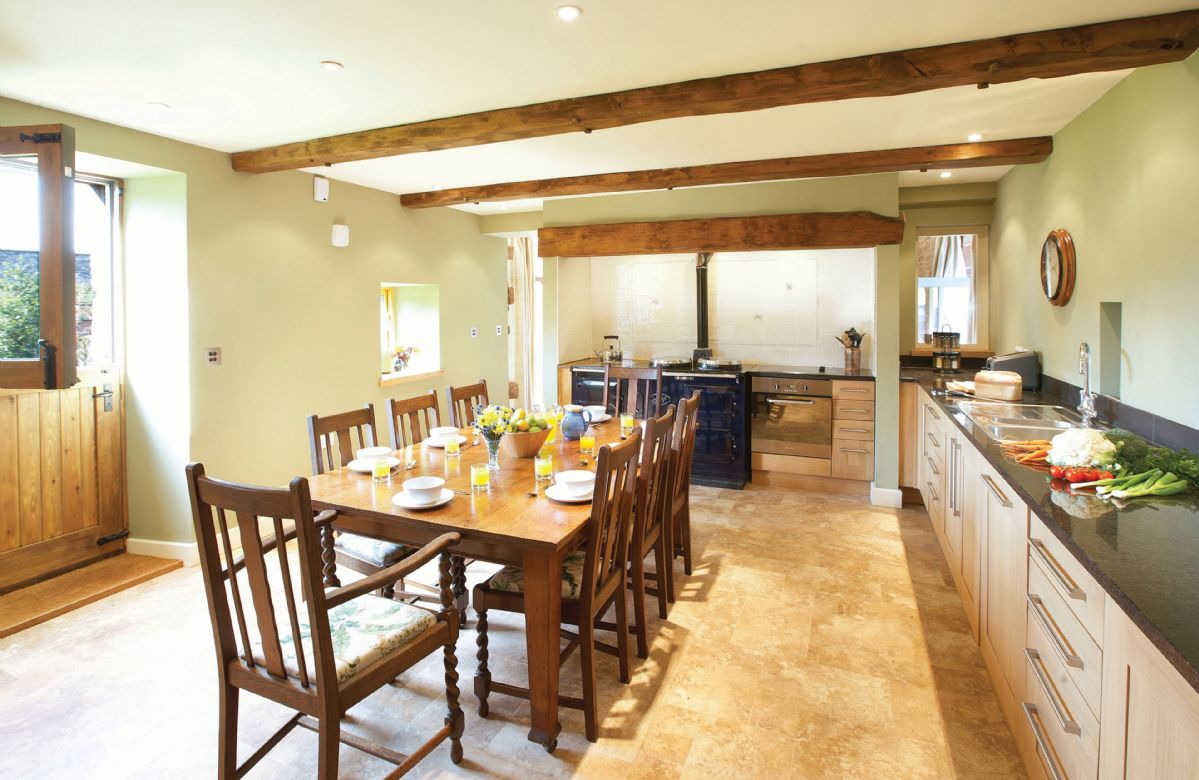 Ground floor: Large kitchen with breakfast table and four oven Aga