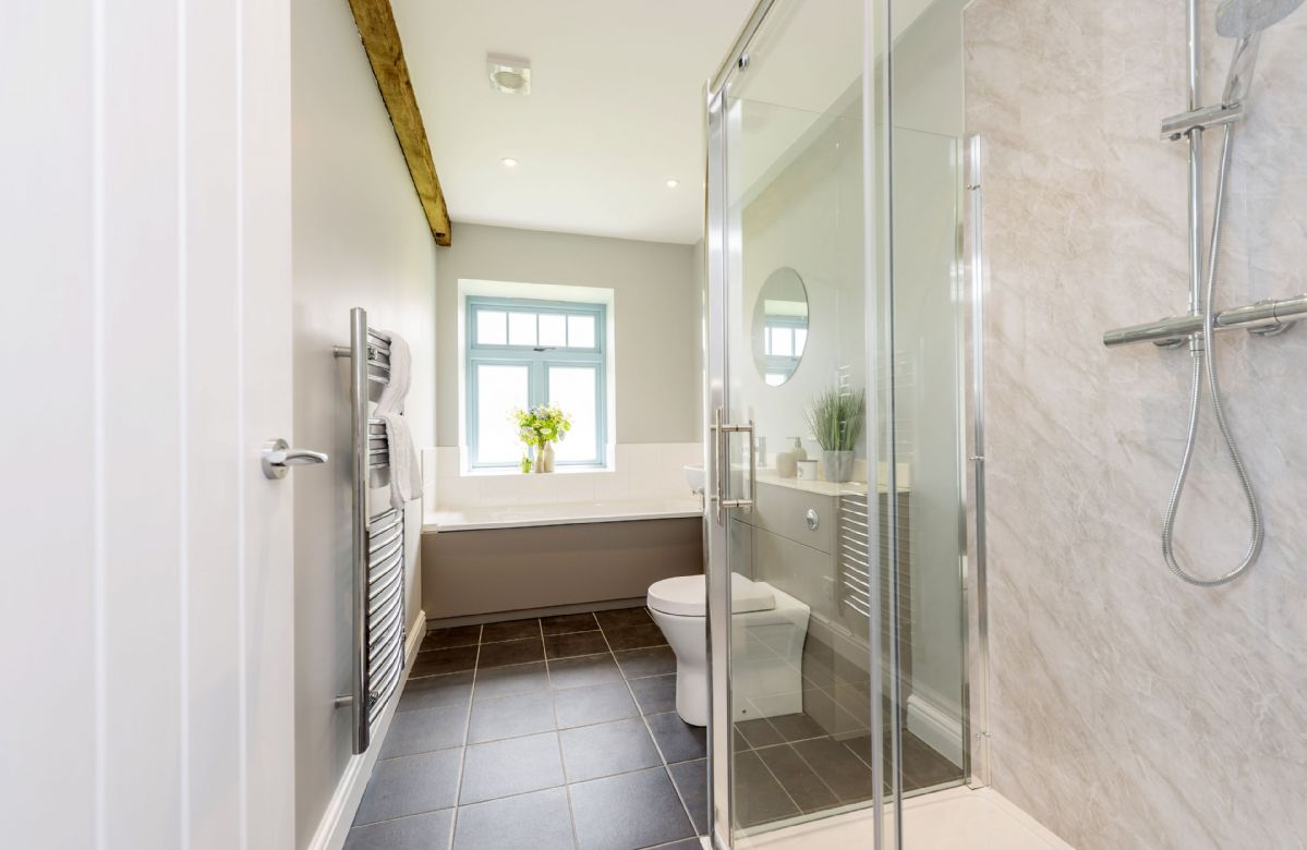 Tothery Cottage:  Family bathroom with bath and walk-in shower