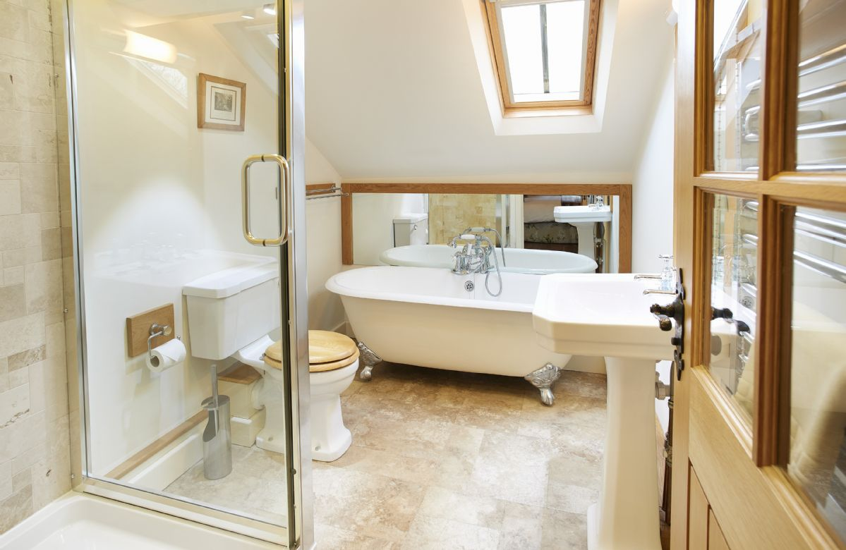 First floor: The Bannerdale en-suite bathroom with bath and separate shower