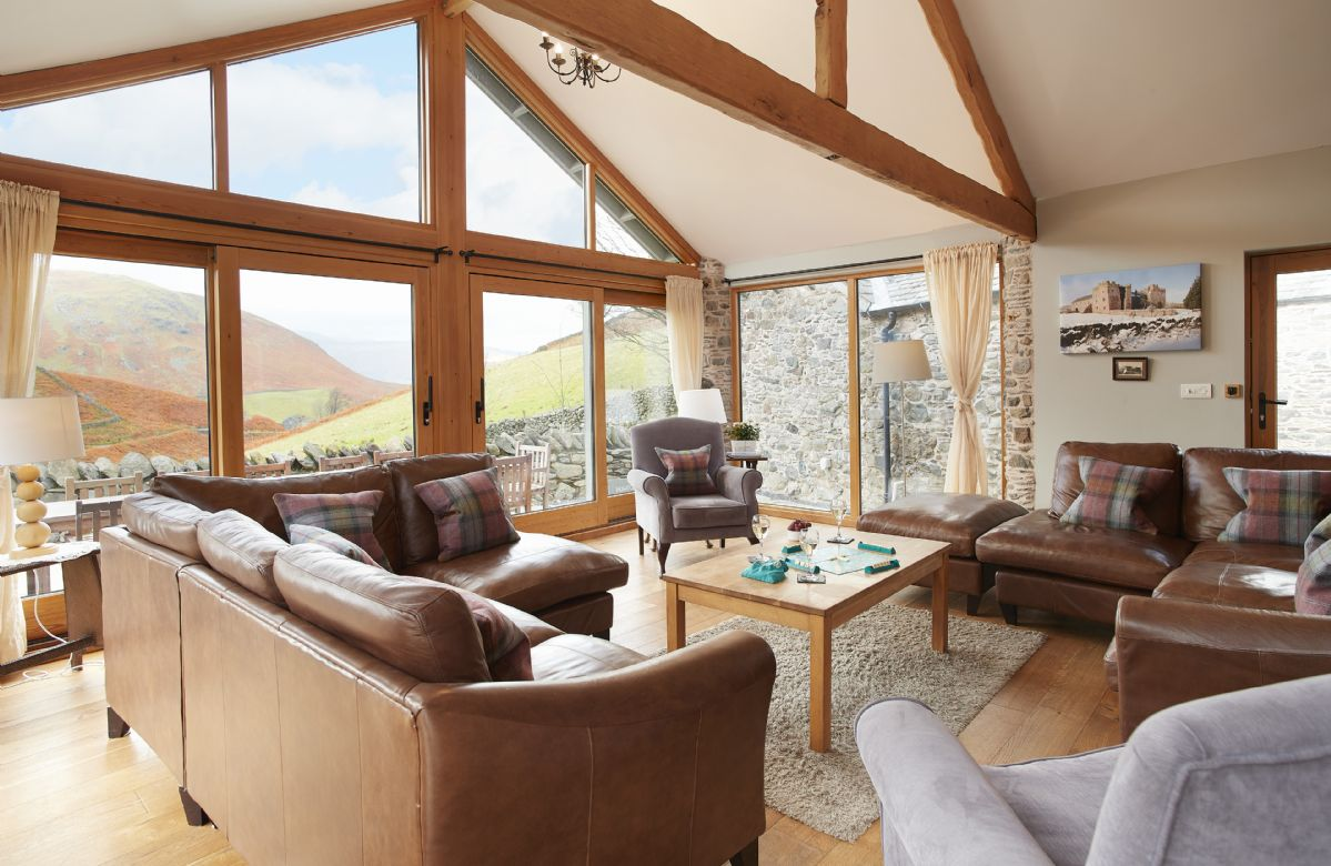Hause Hall Farm, Ground floor:  Open plan day room with spectacular views