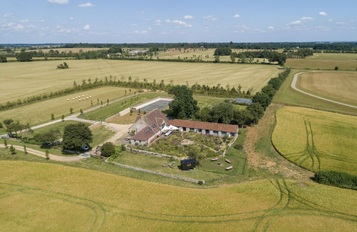 Aerial view of Hailstone Barn with its own beautiful gardens