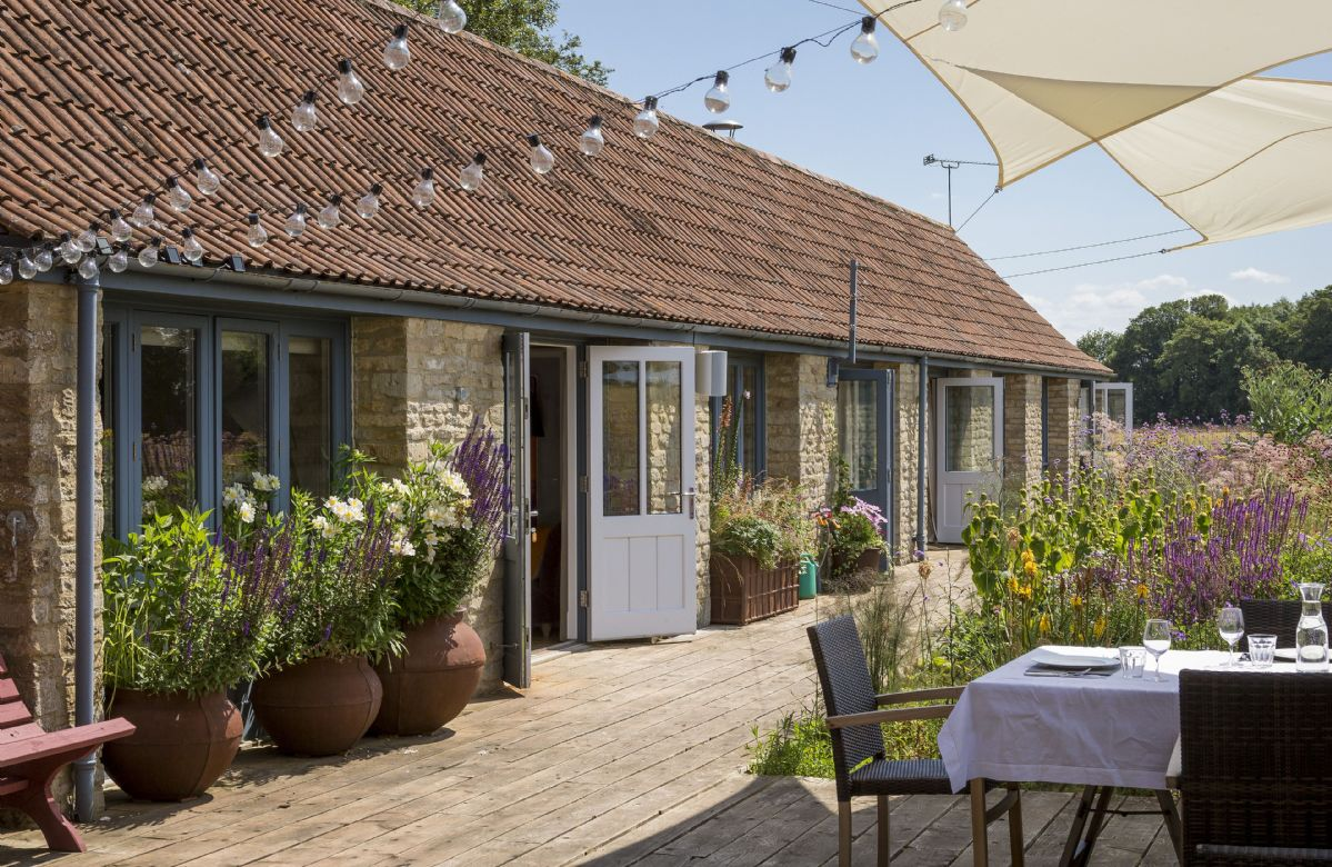 Stunning courtyard and decking in the beautiful wildflower garden