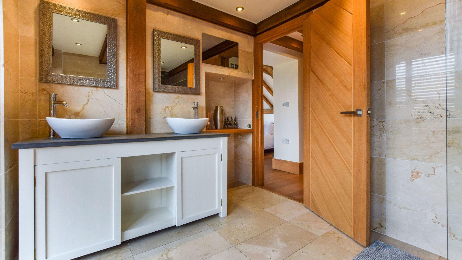 Twin basins in Family Shower Room, Old Oak House, Bolthole Retreats