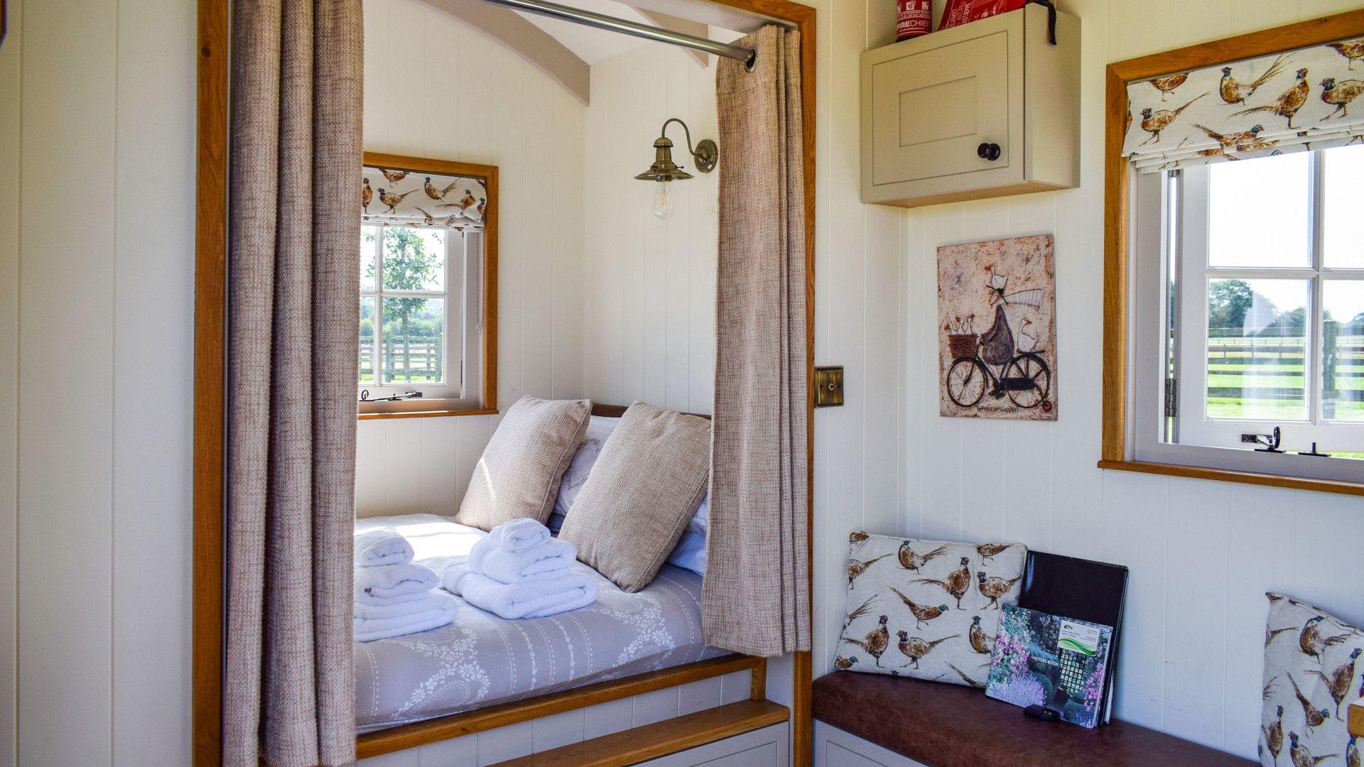 Sleeping area, Shepherds Hut at Avon Farm, Bolthole Retreats