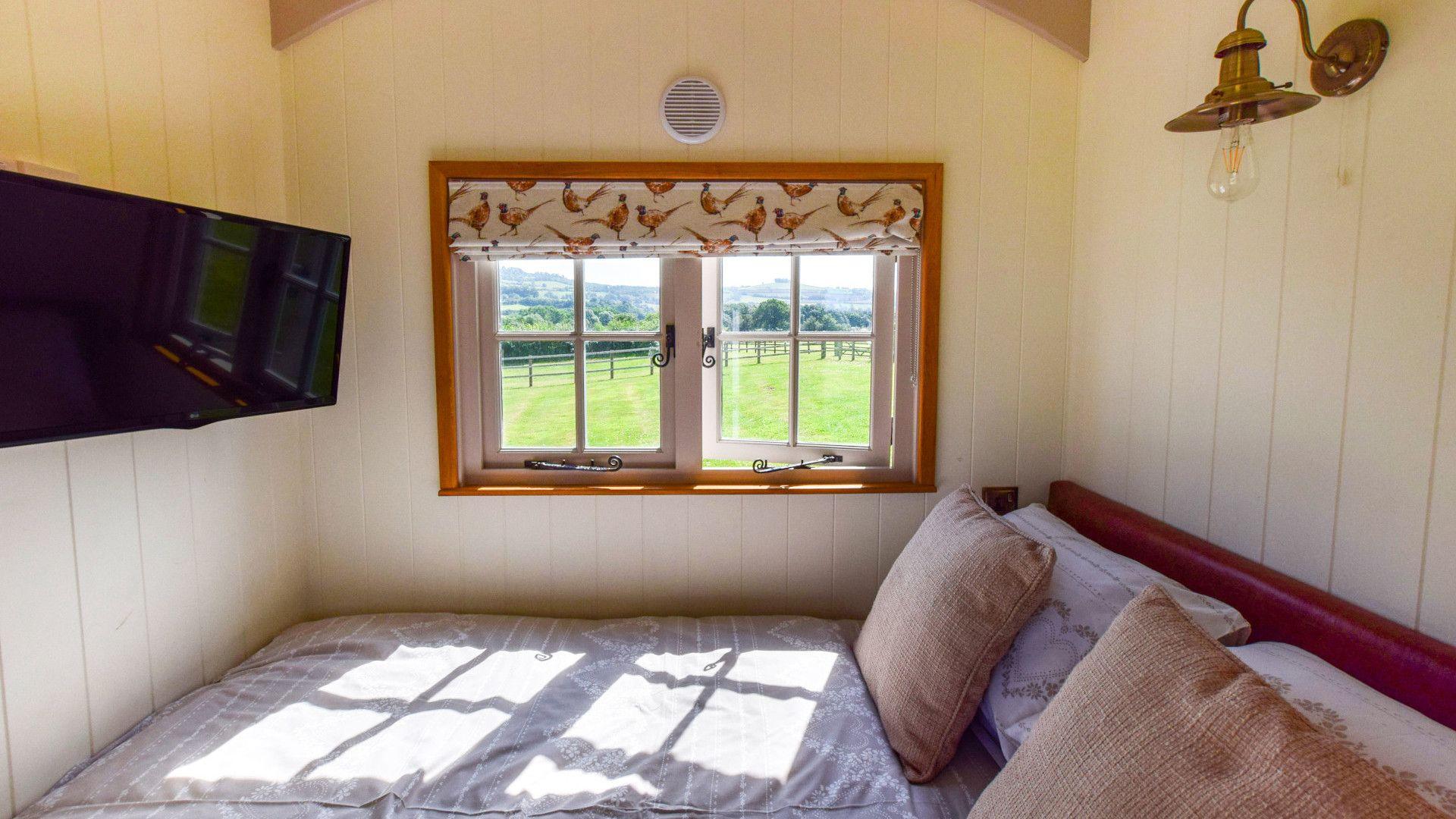 Bed and TV, Shepherds Hut at Avon Farm, Bolthole Retreats