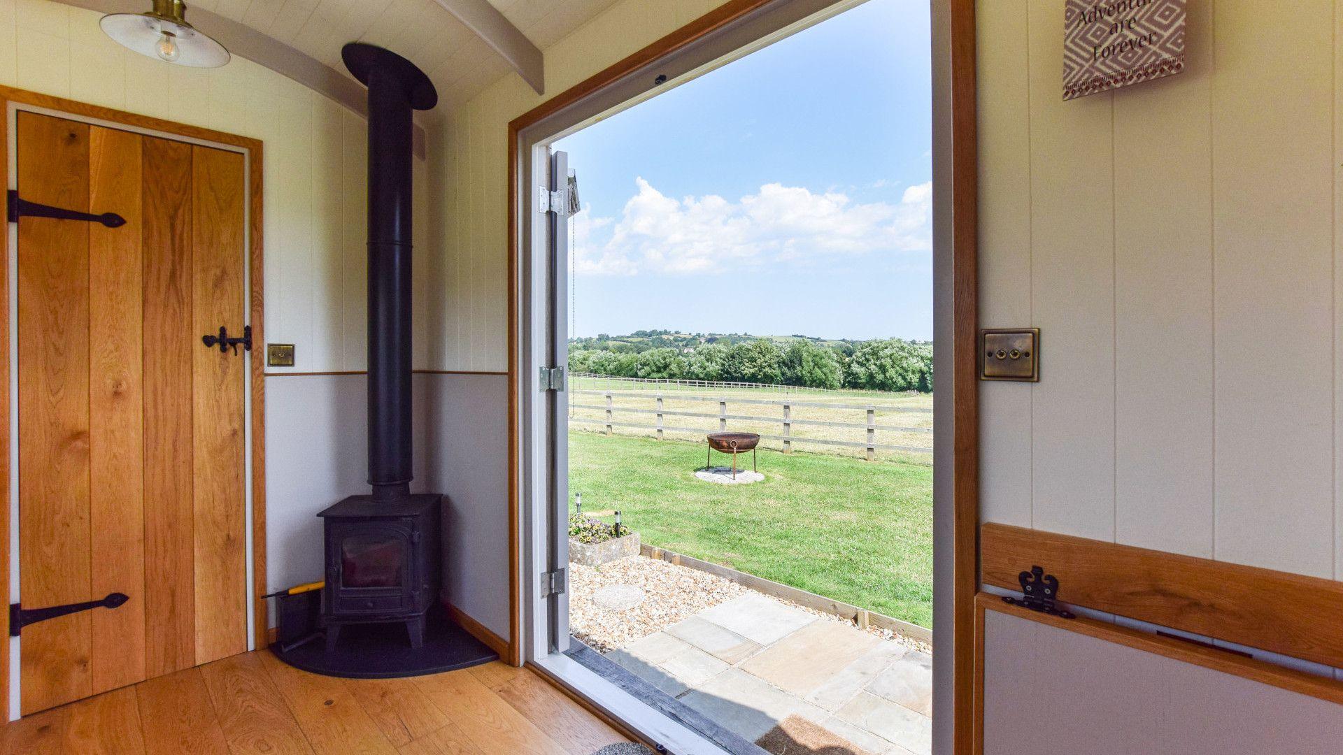 Hut with log burner, Shepherds Hut at Avon Farm, Bolthole Retreats