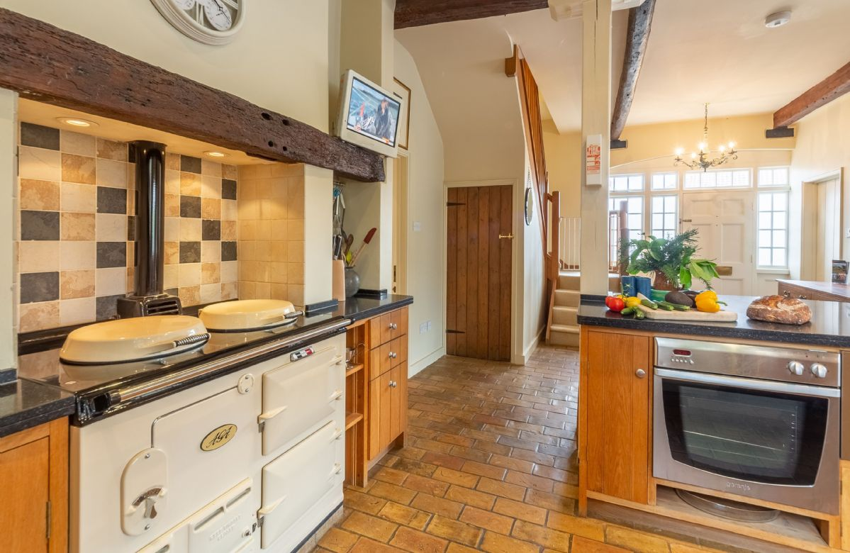Ground floor: The kitchen is fitted with an Aga and electric oven