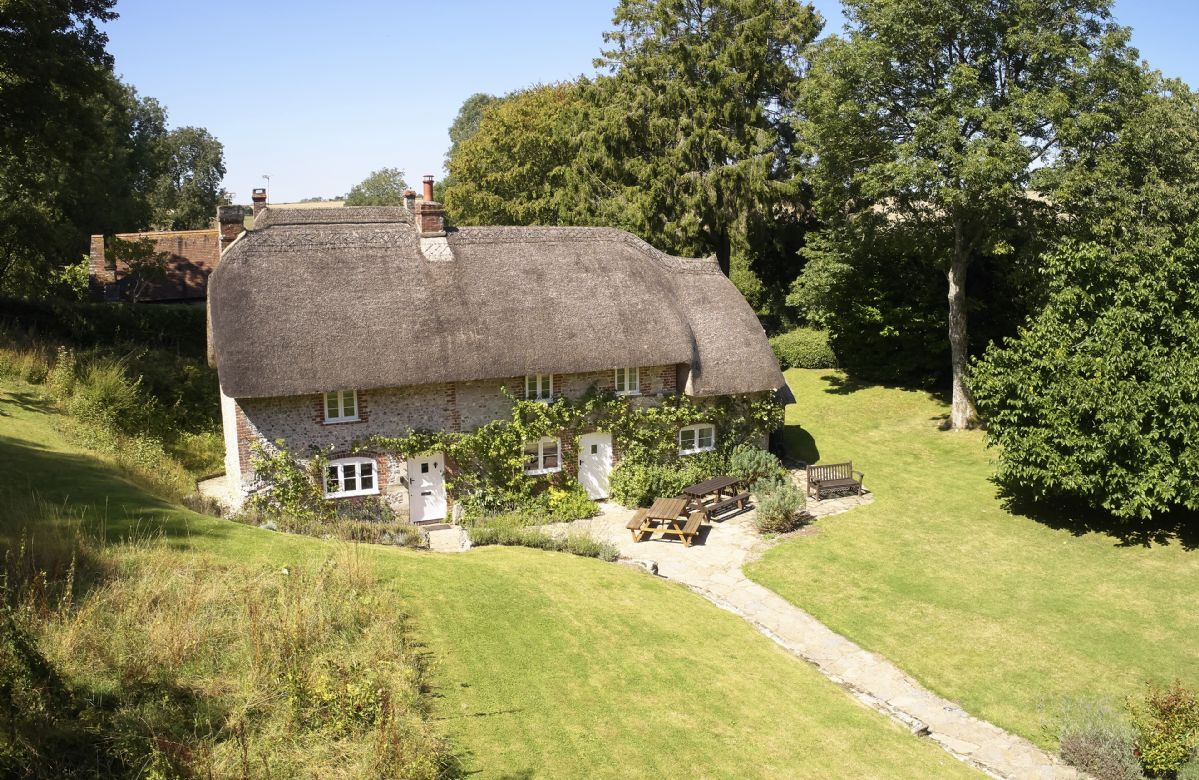 Aerial view of the picturesque Magna Cottage