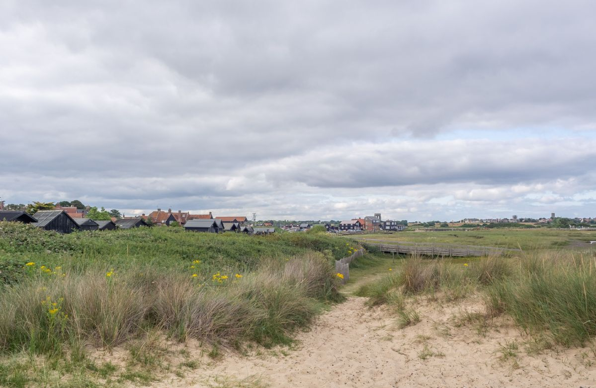 The sand dunes at Walberswick looking towards the harbour and Southwold