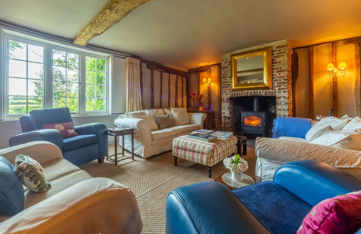 Ground floor: The drawing room with wood burning stove