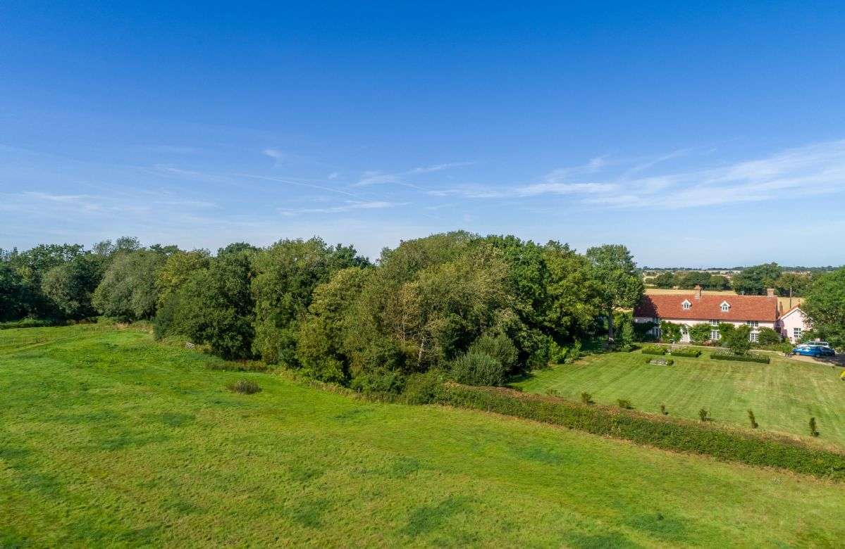 View from the pasture towards the front of Cockerells Hall