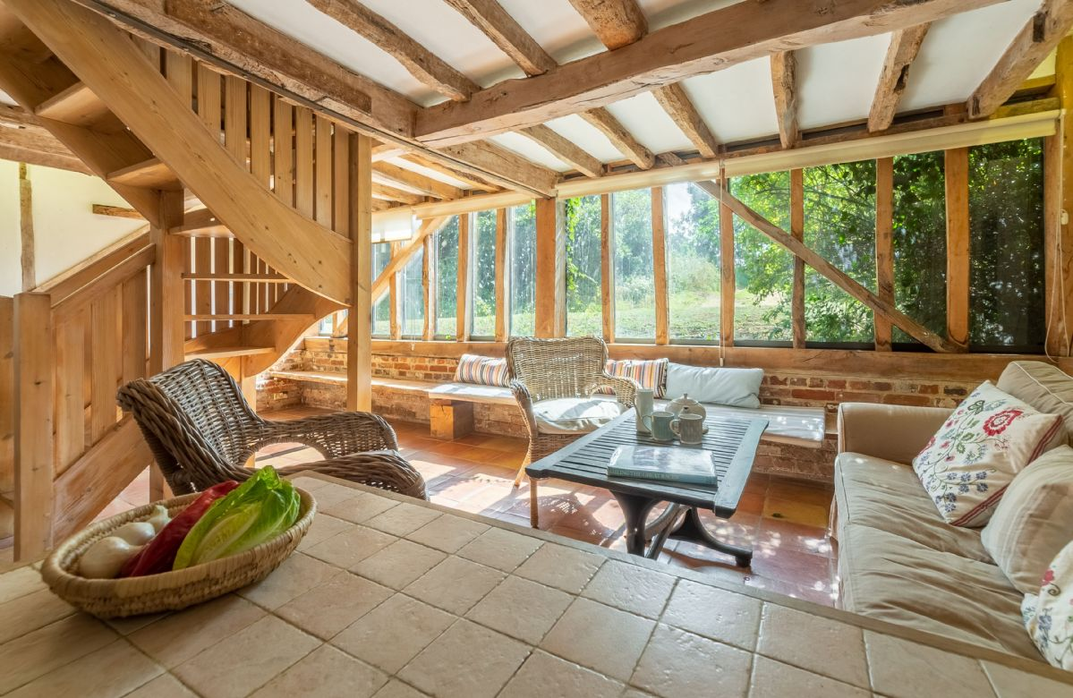 Butley Barn ground floor: Garden room with additional seating and small bar area