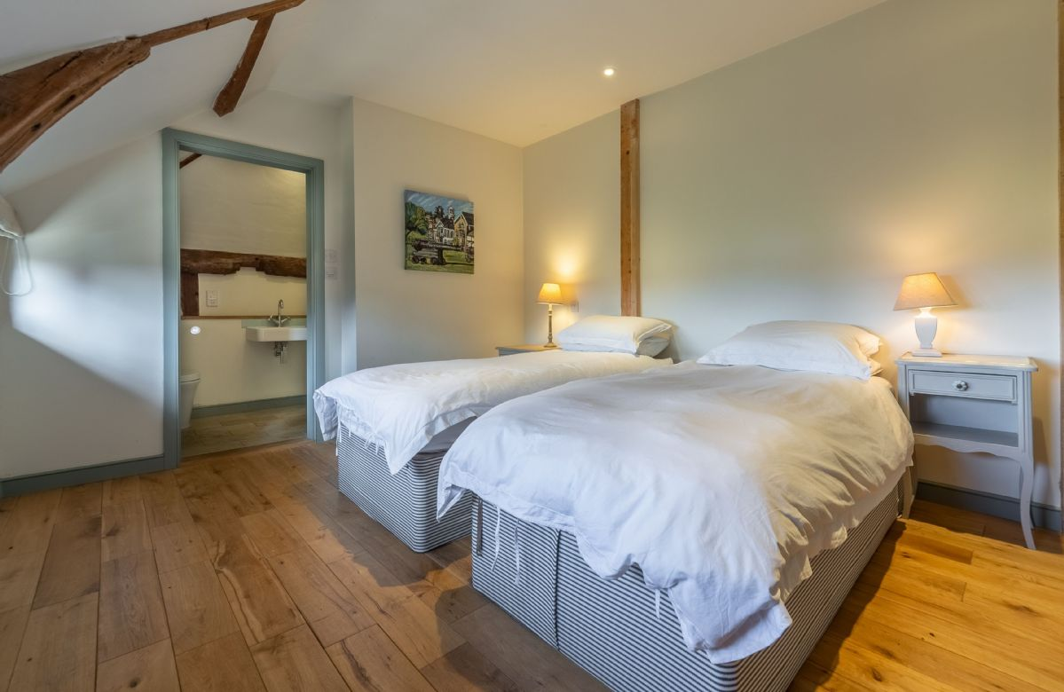 Butley Barn first floor: Bedroom four with 6' zip and link super-king bed