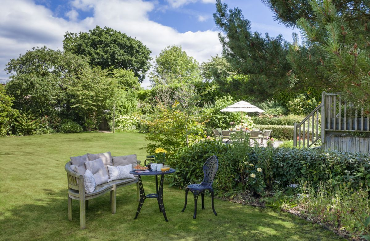 The large private garden is perfect for al fresco dining