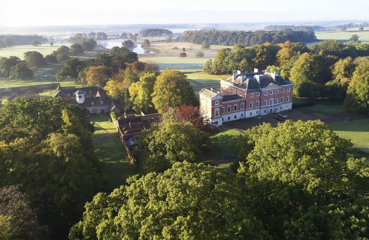 Aerial view of Wolterton Park which is set on a 500 acre private estate in the Bure Valley