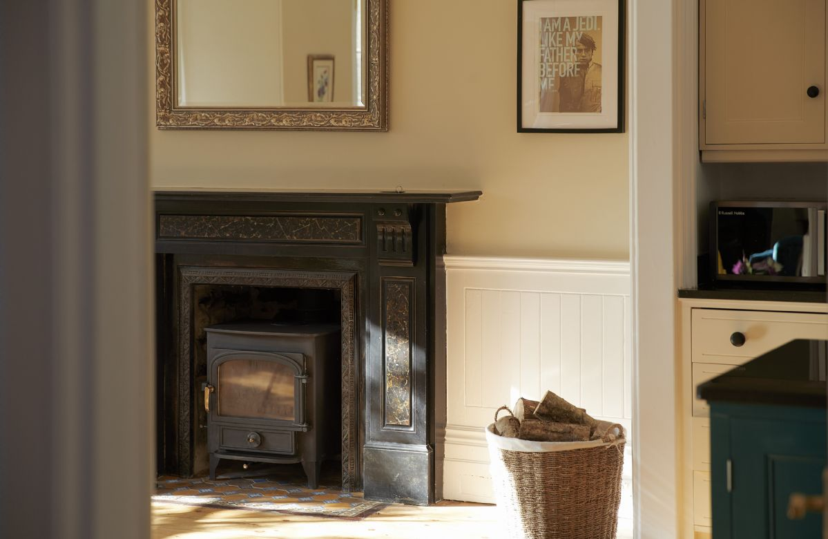 Feature fireplace in the open plan living room