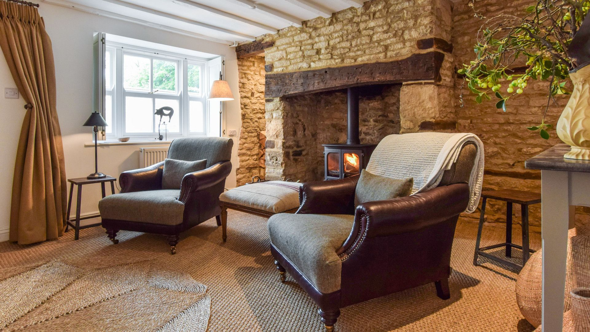Living Room with inglenook fireplace,  Brown's Cottage, Bolthole Retreats