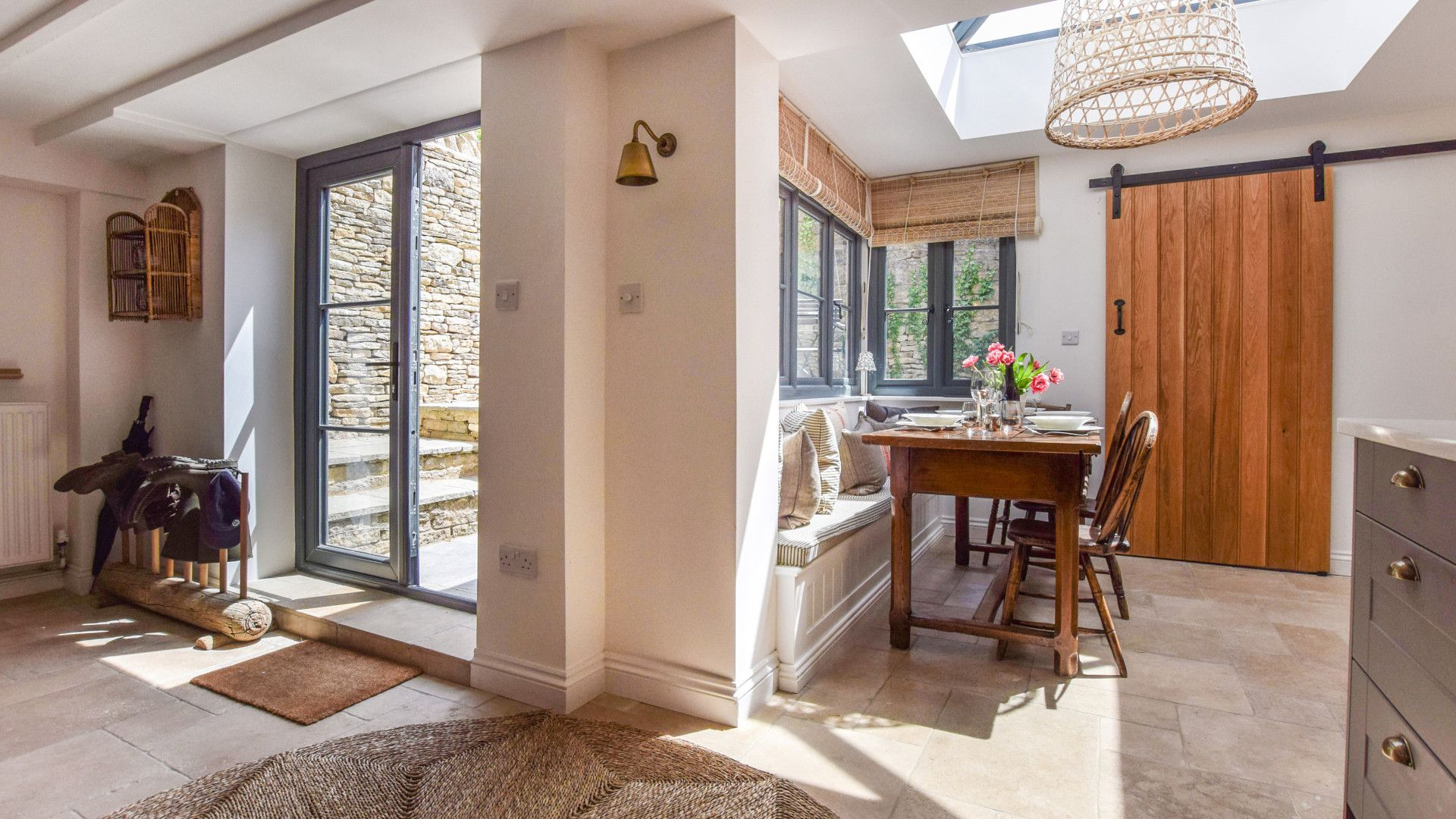 Dining area and French doors, Brown's Cottage, Bolthole Retreats