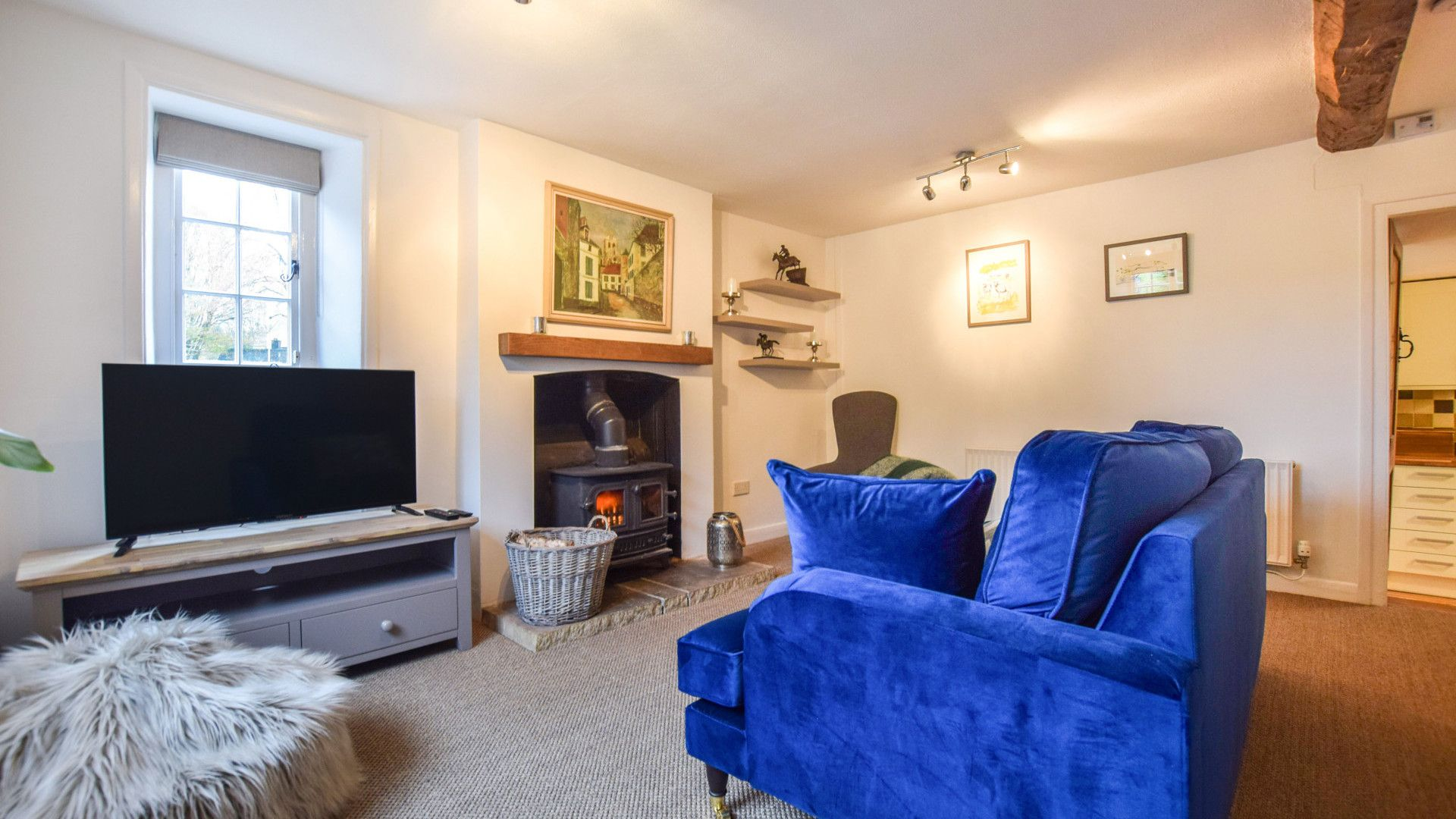 Living Room with Woodburner, 1 Horseshoe Cottages, Bolthole Retreats