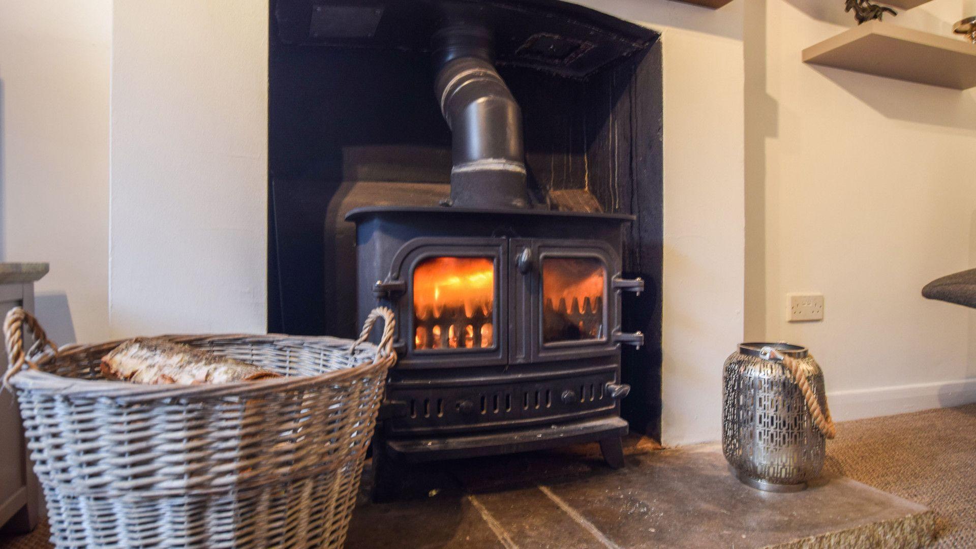 Living Room woodburner, 1 Horseshoe Cottages, Bolthole Retreats