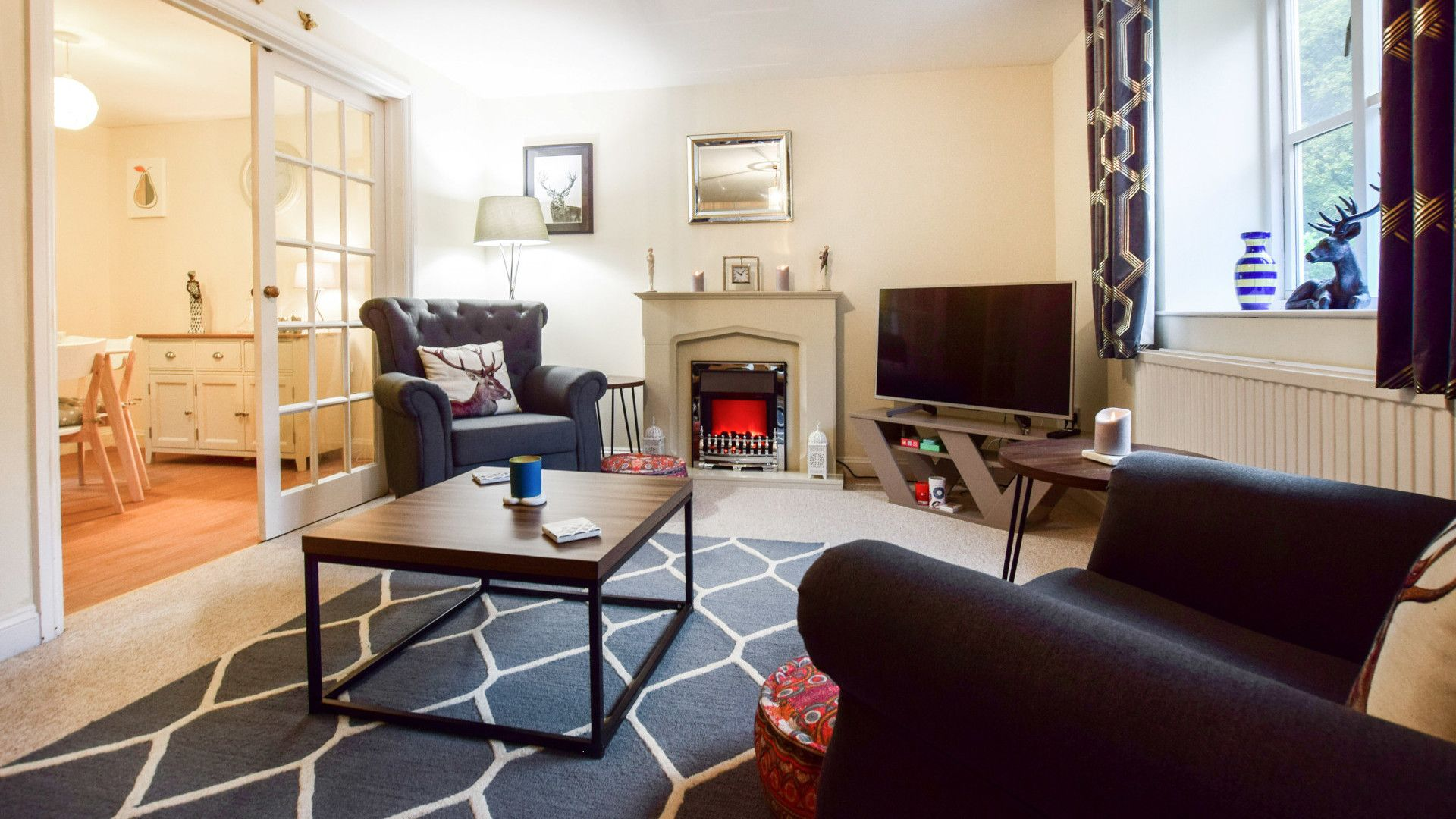 Living room with electric fireplace, 2 The Old Stables Bolthole Retreats