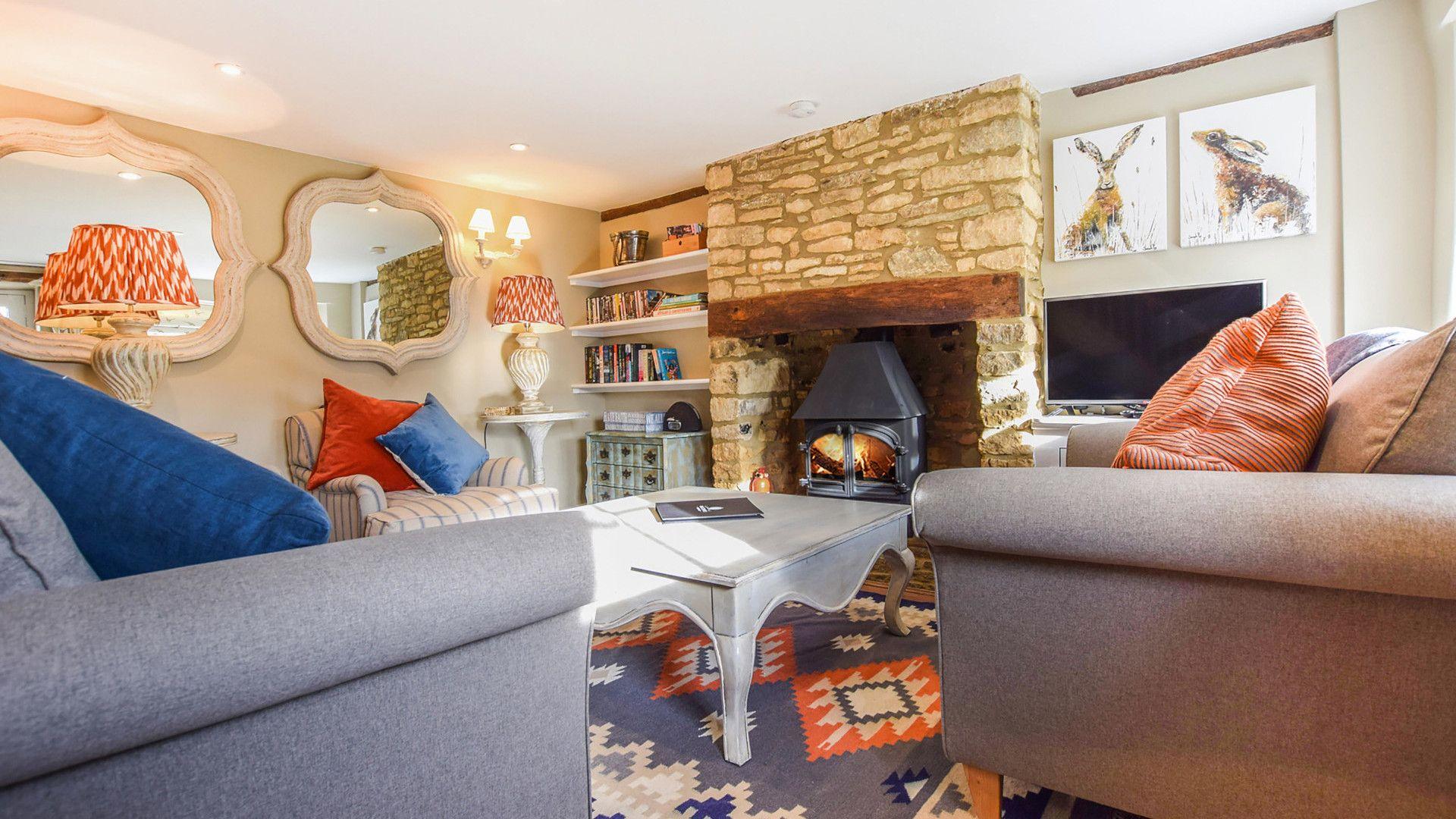 Living Room with Log Burner, Appletree Cottage, Bolthole Retreats