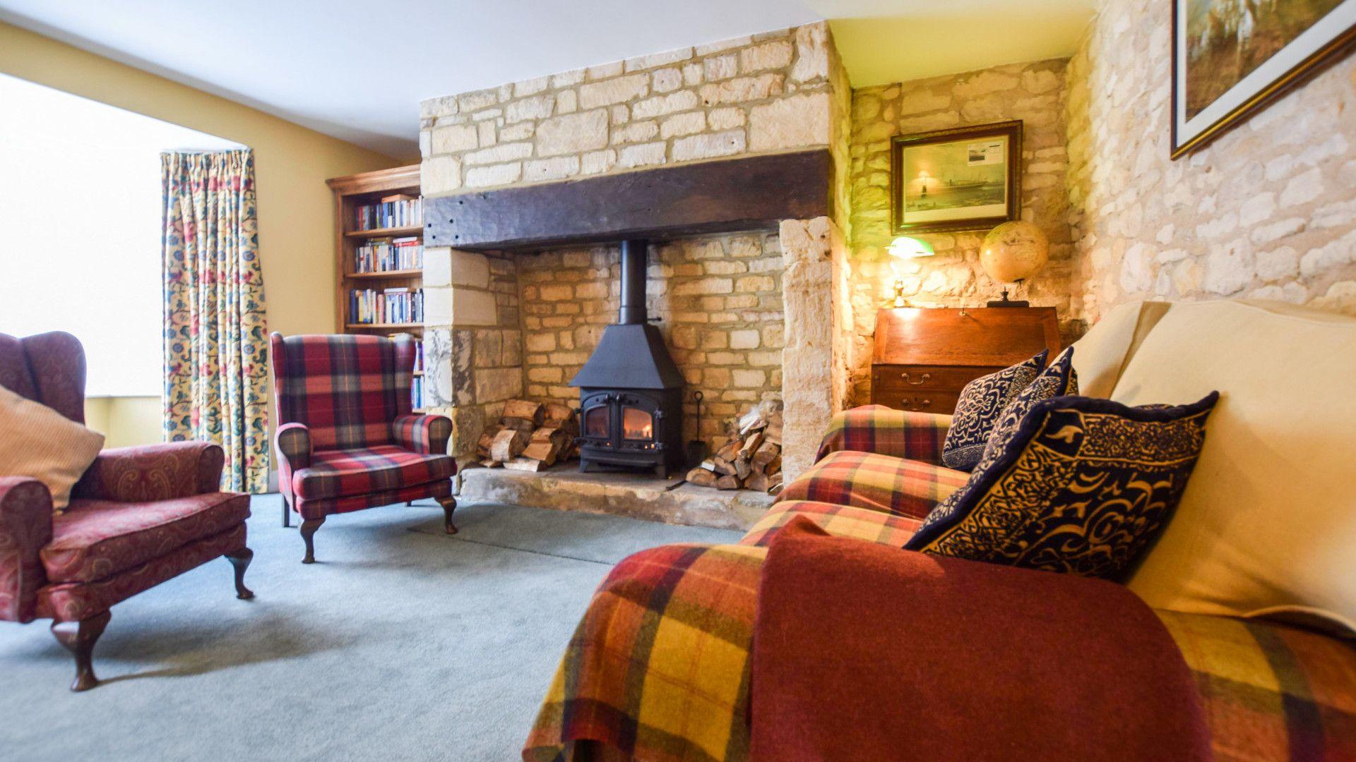 Snug room with log burner, Barebones Farm, Bolthole Retreats