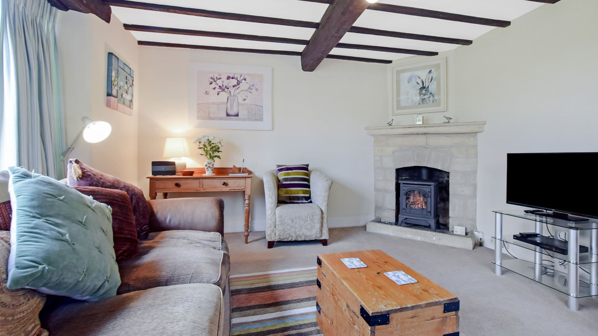 Living room with gas fire, Barndown, Bolthole Retreats