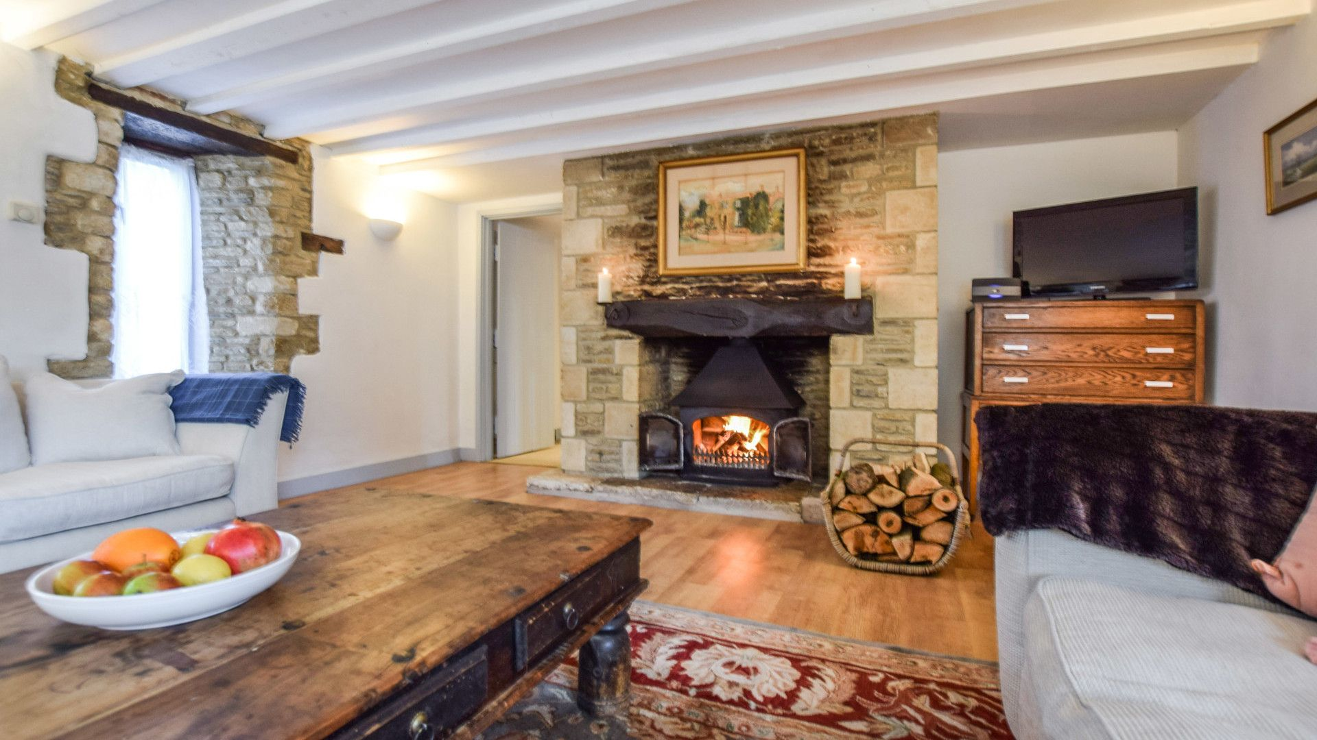 Living room with log burner, Butts Farm, Bolthole Retreats