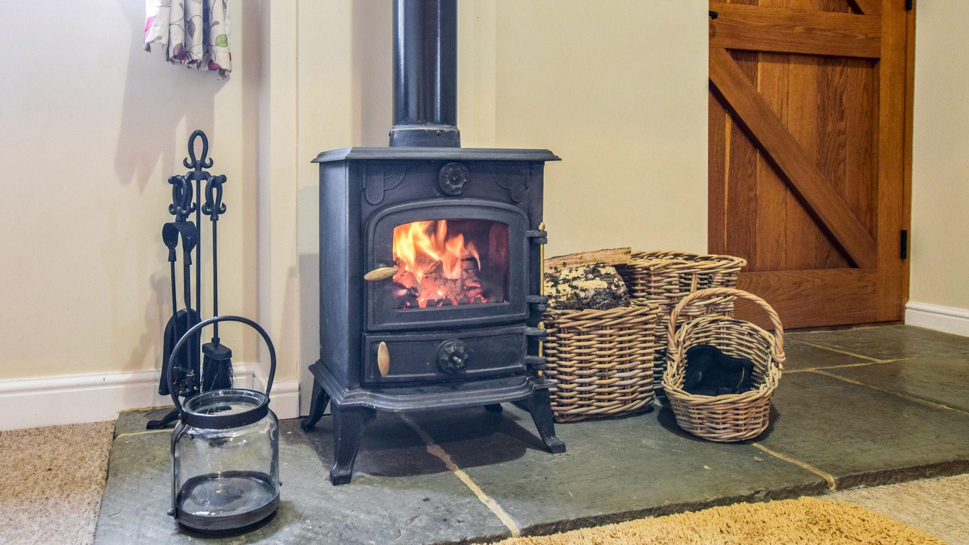 Living room log burner, Cider House, Bolthole Retreats