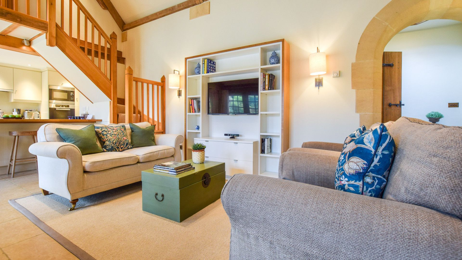 Open-plan living area with TV, The Coach House, Bolthole Retreats