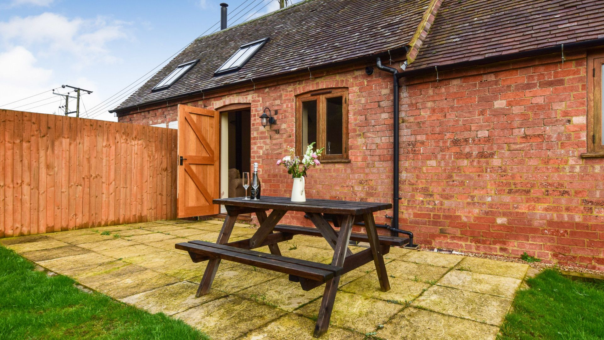 Patio and garden, Living area with log burner, Combine Shed, Bolthole Retreats