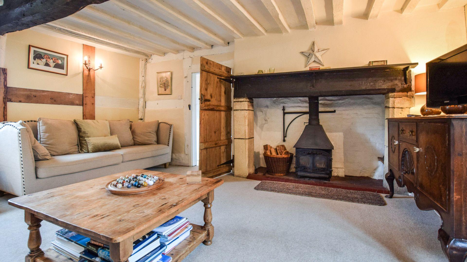 Living room with log burner, Cyder Press House, Bolthole Retreats