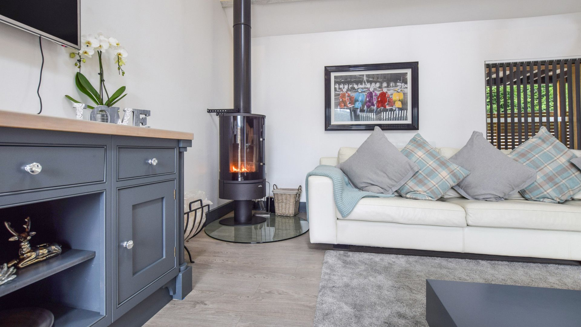 Living area with log burner, Dovecote at Avon Farm, Bolthole Retreats